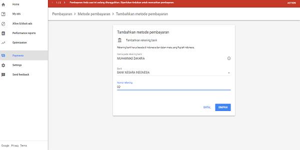 cara mengisi form pembayaran google adsense