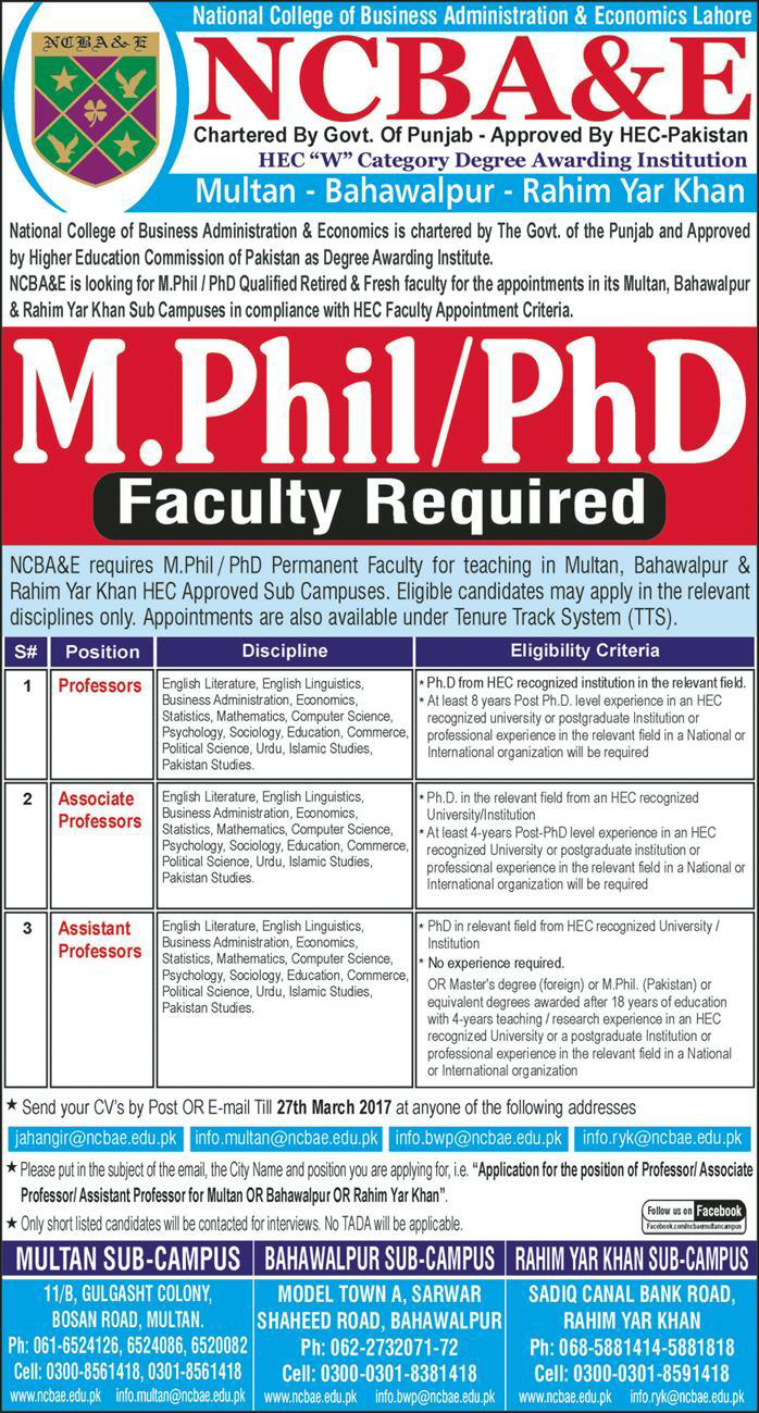National College of Business Administration and Economics Multan Jobs