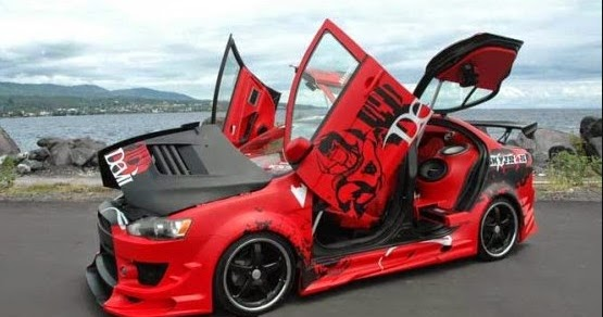 modifikasi mobil agya warna merah