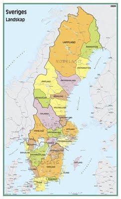 karta över sverige med landskap och städer