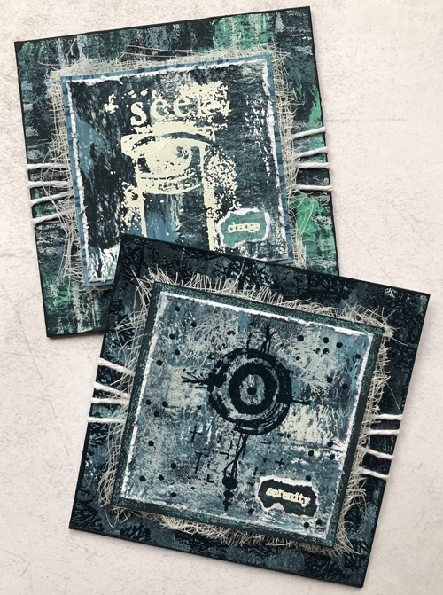 PaperArtsy ESA33, ESA34, ESA39, ESA40 by Seth Apter - with chalk paints, Baked Texture and Gel prints by Nikki Acton