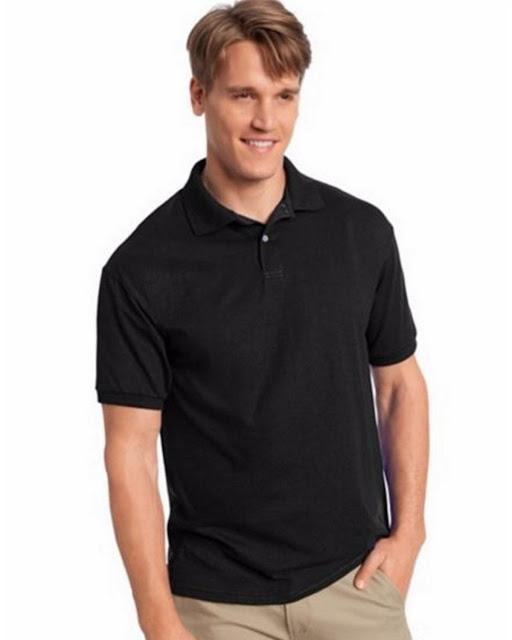 Hanes 054X Mens Comfortblend Jersey Polo -Black – L