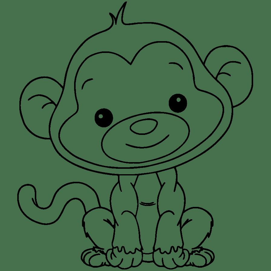 Gambar Mewarnai Monyet Lucu Aneka Warnai Gambar
