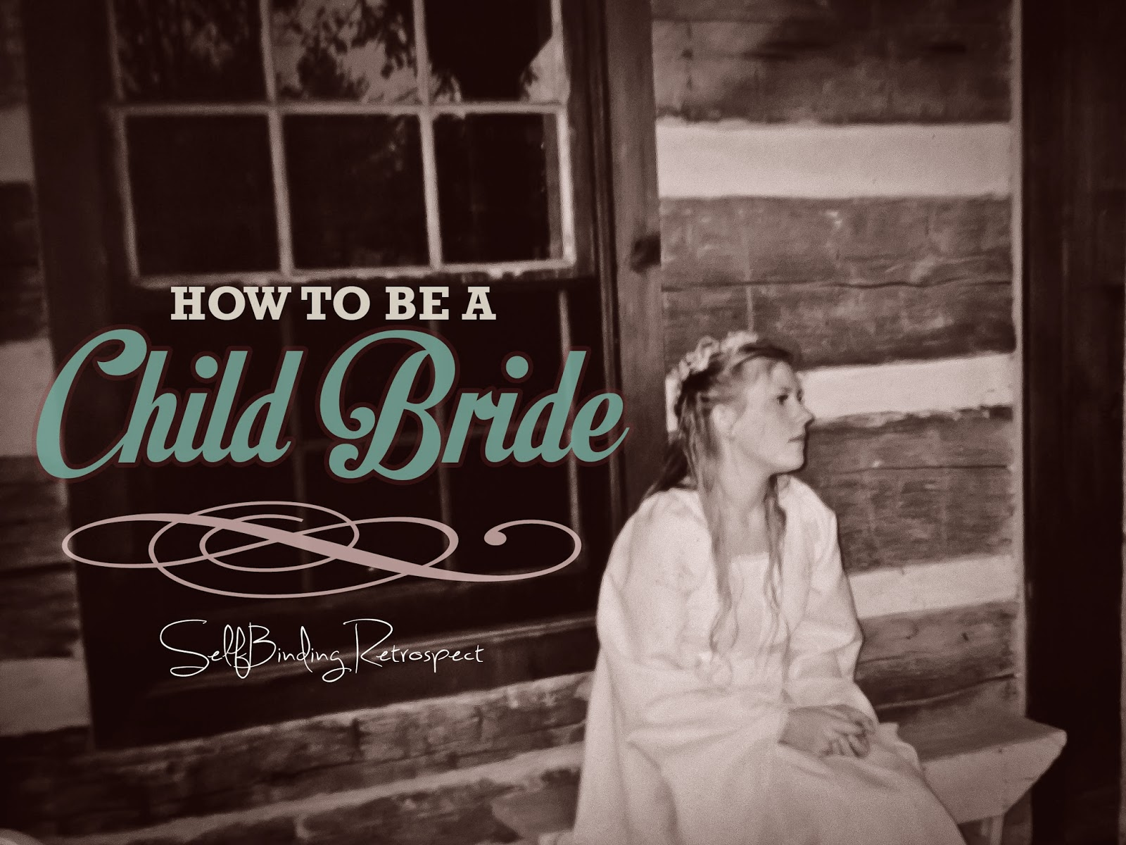 child bride sitting outside cabin