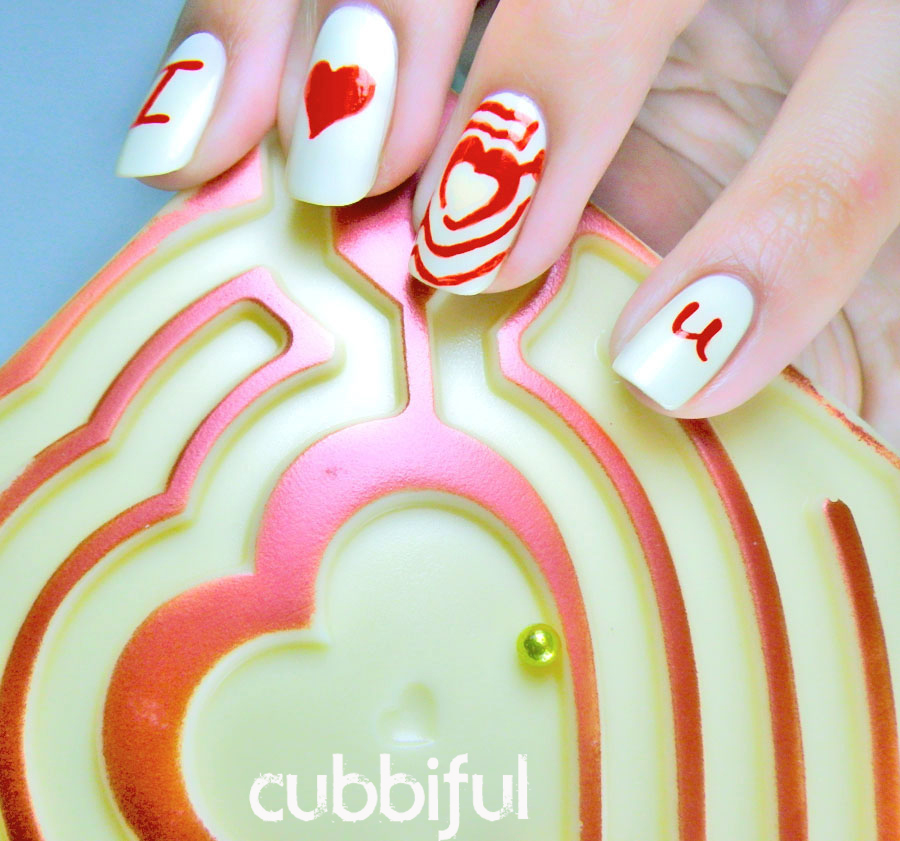 romantic heart nails for Valentines