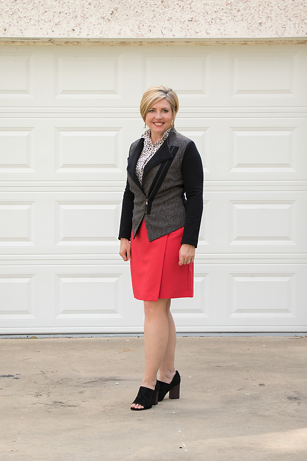 block heel pumps, moto jacket outfit, skirt outfit, fall work outfit