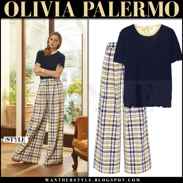 Olivia Palermo in dark navy prada top and yellow plaid adam lippes pants what she wore april 2017