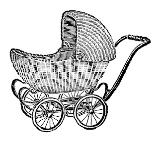 baby carriage vintage wicker illustration artwork image