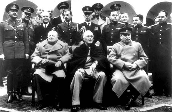 Winston Churchill, Franklin D. Roosevelt y Joseph Stalin