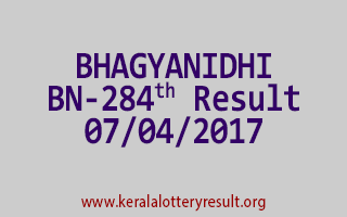 BHAGYANIDHI Lottery BN 284 Results 7-4-2017