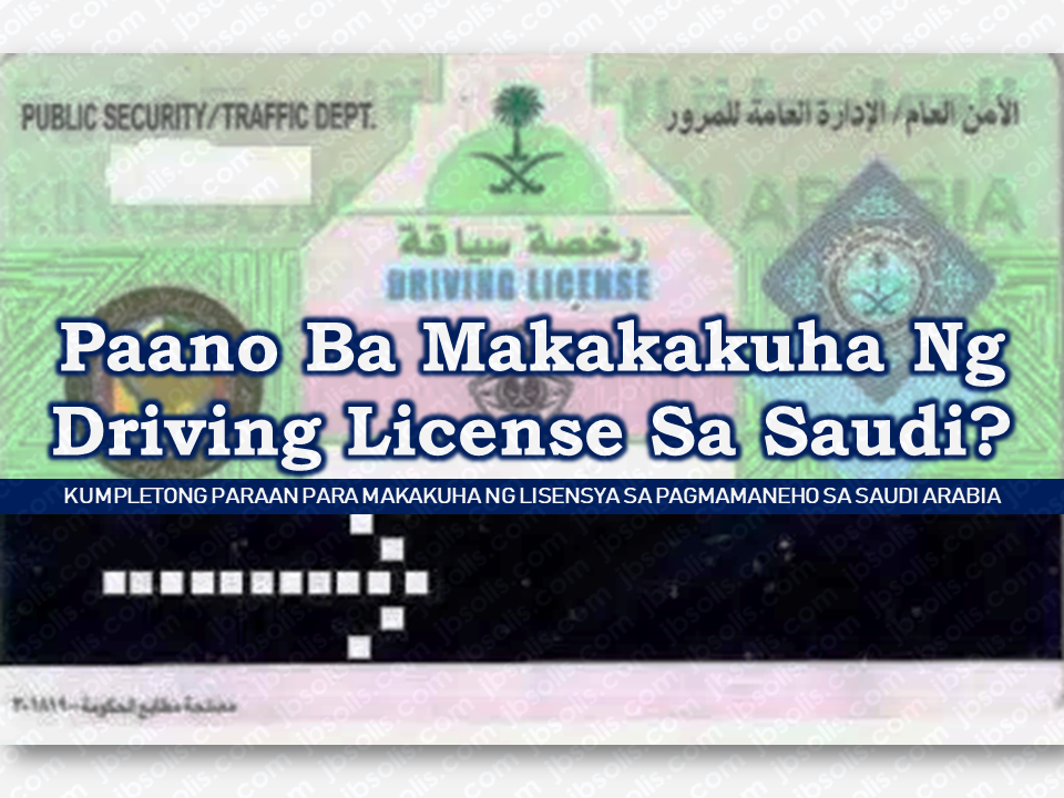 "Since international driving license is not allowed to be used by expatriates including overseas Filipino workers (OFW), in Saudi Arabia, you may need to apply for a driving license to be able to drive your car legally.  Advertisement        Since international driving license is not allowed to be used by expatriates including overseas Filipino workers (OFW), in Saudi Arabia, you may need to apply for a driving license to be able to drive your car legally.   Sponsored Links      Before applying for driving license, you must have the following documents with you.   Get your Country License translated to Arabic. Get your Blood group and eye test report from any dispensary in Saudi Arabia. Your Iqama (Resident permit) copy Your Passport copy (both front and back sheets). Your four Passport size photo(white background).    Deposit SAR 435/- through internet (If you pay through broker) against your Iqama for 10 years Private License. You can pay online using SADAD payment (2 years - SAR.80 / 5 years - SAR.200 / 10 years - SAR.400)   Go to any driving school nearest to your area or at any driving school of your chioce with all the documents at 7'o clock.   Pay 10 riyals to shop of Photocopy outside school gate and he will create a file.   With this file, enter Hall No. 2 in school and get your eyes tested.   On your left side will be an eye microscope. Get your eyes tested and he will stamp your application.   Get a license check from same hall in opposite direction.   Take the initial trial from Hall No. 4. You need your iqama as well.  Take care of only 4 things. Seat belt, back view mirror, hand brake, and seat adjustment for your accelerator. Drive slowly through round-about.  If you succeed in initial trial, the tester will write ""I"" alif on your form. (If you fail, make a new file and apply after 2-3 days if you don't want to attend classes)   Take the file back to hall no. 2 and he will print a form taking you 100 saudi riyals for the instructions class to be held on the same day evening from 3:00 to 6:00. Your file will be held and you will be given the slip.  Attend the class from 3 to 6 pm same day. bring the slip.  Next day come to school again and go to computer testing waiting hall with the slip. Submit the slip inside the examination room.  On your turn, take the exam and then sit in the stadium to get your final trial.  After final trial, if you are successful, come back to computer test waiting room. You will be given back your file.(If you fail, you will be given back your slip, you need to stamp this slip from Hall#5 after one week at 3 o clock. They will tell you to come next day morning for trial again, in computer room you submit this slip for 2nd try. You have three tries in total on one slip)  Take your file to hall no. 1 and counter no. 14. Submit it there and tell him that you have deposited your 400 riyals.              Read More:  Is It True, Duterte Might Expand Overseas Workers Deployment Ban To Countries With Many Cases of Abuse?  Do You Agree With The Proposed Filipino Deployment Ban To Abusive Host Countries?  Body Of Household Worker Found Inside A Freezer In Kuwait; Confirmed Filipina  Senate Approves Bill For Free OFW Handbook  Overseas Filipinos In Qatar Losing Jobs Amid Diplomatic Crisis—DOLE How To Get Philippine International Driving Permit (PIDP)  DFA To Temporarily Suspend One-Day Processing For Authentication Of Documents (Red Ribbon)    SSS Monthly Pension Calculator Based On Monthly Donation    What You Need to Know For A Successful Housing Loan Application    What is Certificate of Good Conduct Which is Required By Employers In the UAE and HOW To Get It?    OWWA Programs And Benefits, Other Concerns Explained By DA Arnel Ignacio And Admin Hans Cacdac    Do You Know The Best Places To Visit In Canada?"