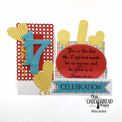 Our Daily Bread Designs Stamp Set: Celebration, Custom Dies: Large Numbers, Side Step Card, Balloons and Streamers, Circle Scalloped Rectangles, Pennant Flags, Double Stitched Pennant Flags, Pierced Ovals,Paper Collection: Birthday Brights