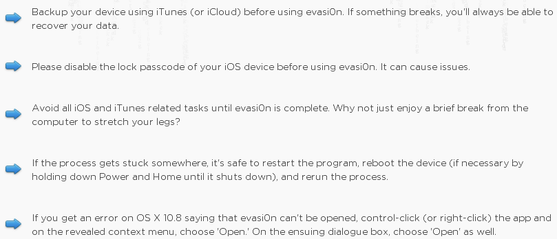 Guidelines for Evasi0n iOS 7 Jailbreak