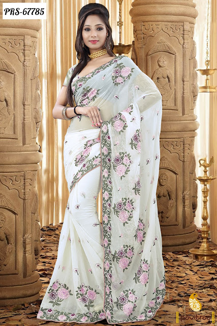 white pure color chiffon saree online shopping with price