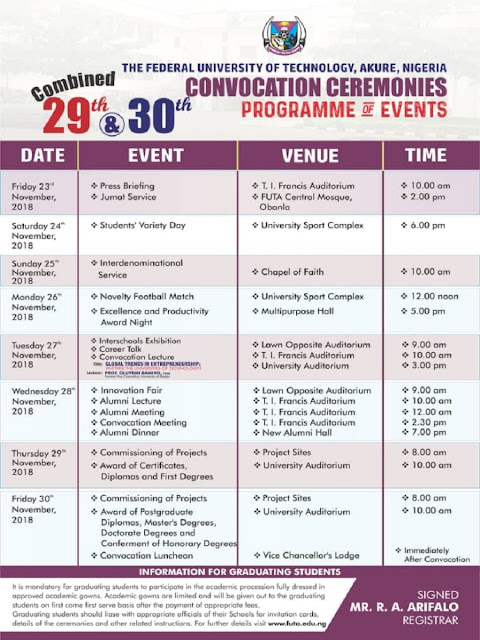 FUTA 29th & 30th Combined Convocation Ceremonies Programme of Events