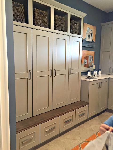 gray mudroom built ins