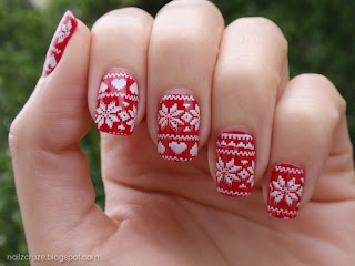 Red Christmas Sweater Mani With Nailz Craze Nc03 Plate