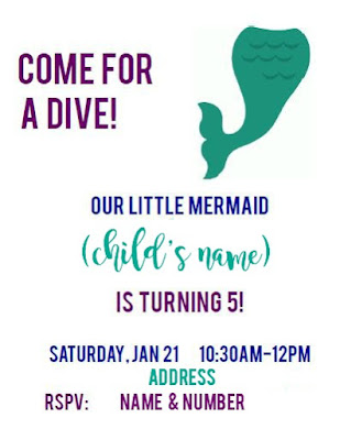 Invitation for a mermaid or under the sea birthday party
