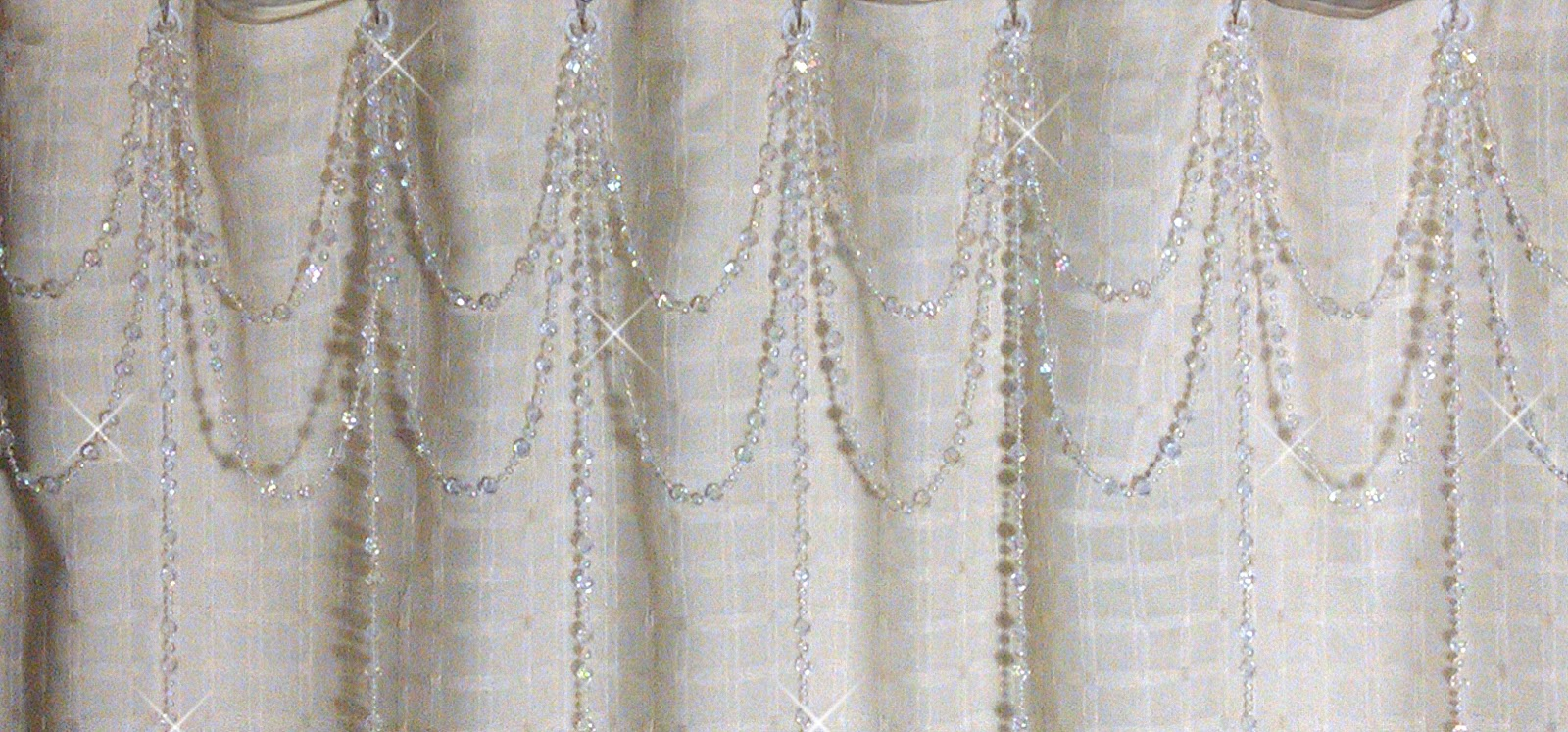 Shadez of Michelle Shower Curtain Bling Double Swag Iridescent Crystal with Vertical Stands