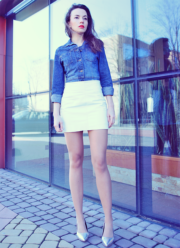 denim shirt and white skirt
