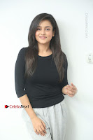 Telugu Actress Mishti Chakraborty Latest Pos in Black Top at Smile Pictures Production No 1 Movie Opening  0042.JPG