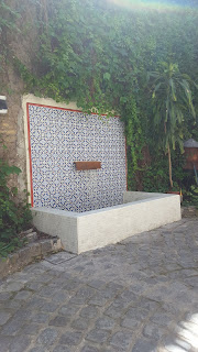 Patio fountain on wall