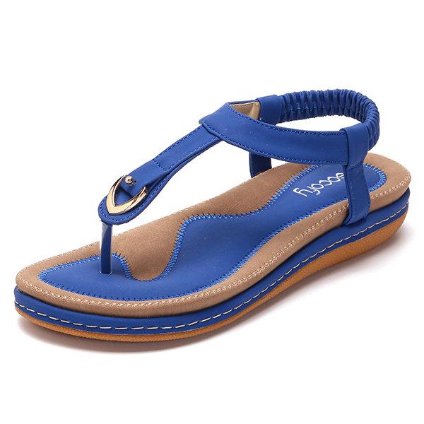 Comfortable Elastic Clip Toe Flat Beach Sandals