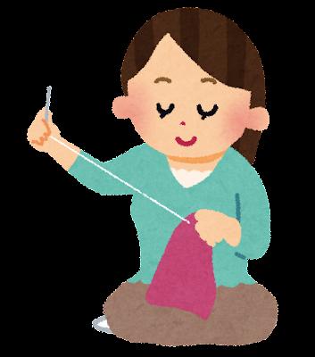 刺しゅう・裁縫をしている女性のイラスト