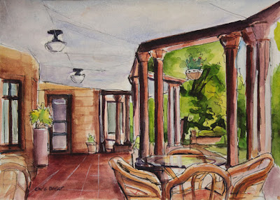 A watercolor painting of the porch at Sonnenberg Mansion, Canandaigua NY
