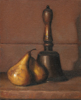 Still life oil painting of two bosc pears beside an antique handbell.