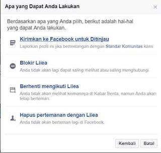 melaporkan akun fb
