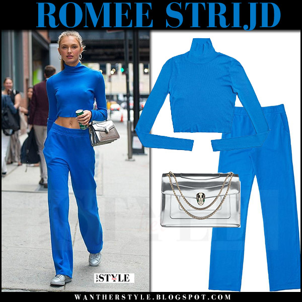 Romee Strijd in bright blue turtleneck top and blue sweatpants cotton citizen july 2017 street fashion