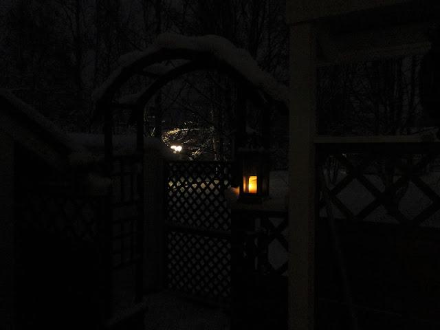 kaariportti, pimeys, lumi, talvi, joulu