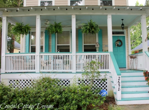 wicker porch chairs swivel chair outdoor beach bliss on a blue painted cottage - coastal decor ideas and interior design ...