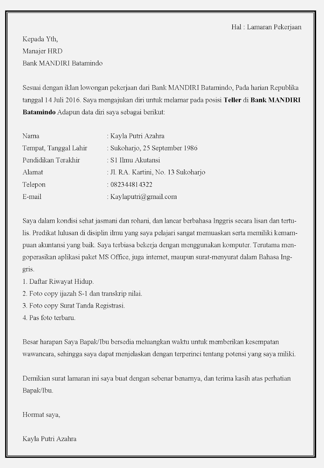 10 Contoh Surat Lamaran Kerja Bank Mandiri Contoh Surat
