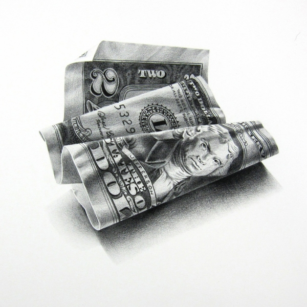 01-2-Dollars-Christina-Empedocles-Pencil-Drawings-Illusions-that-Look-3D-www-designstack-co