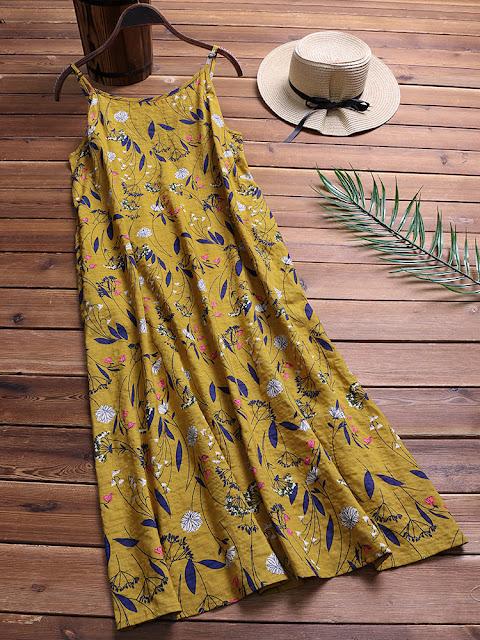 Spaghetti Strap Floral Print Loose O-neck Dresses