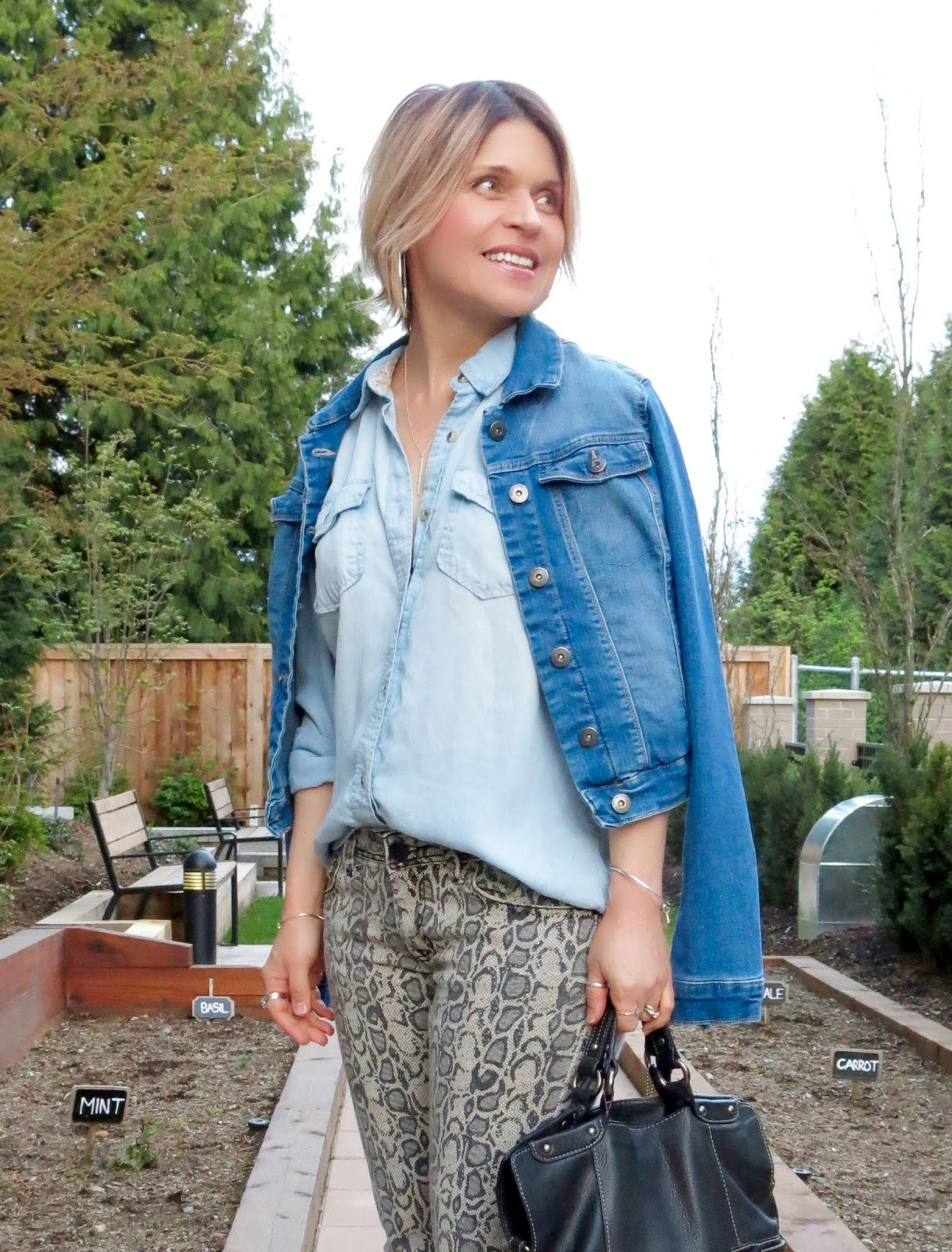 snakeskin-patterned jeans, chambray shirt and denim jacket