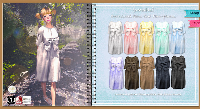 {amiable}Over-sized Bow Cut One-piece@.Whimsical.(50%OFF SALE).