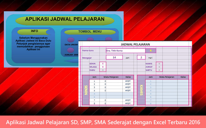 Aplikasi Jadwal Pelajaran SD, SMP, SMA Sederajat dengan Excel Terbaru 2016