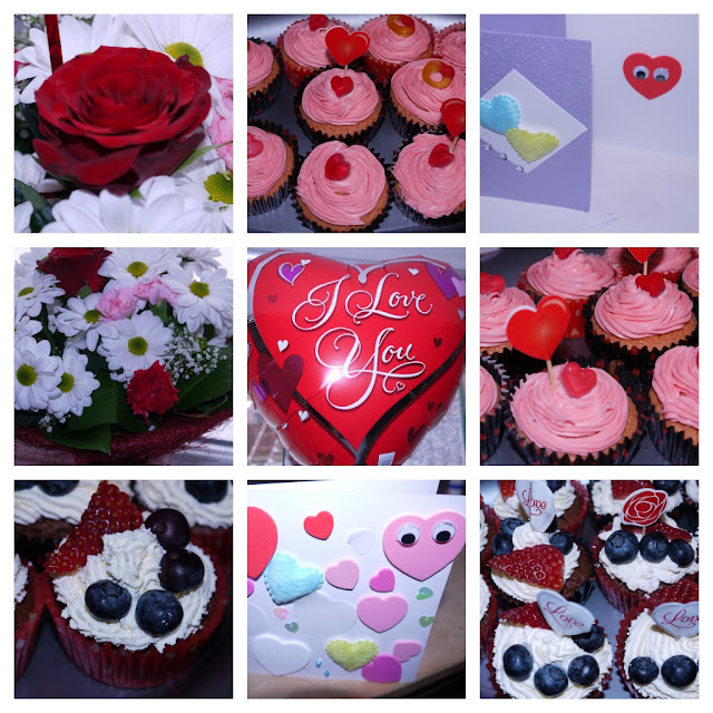 cakes, balloons, flowers