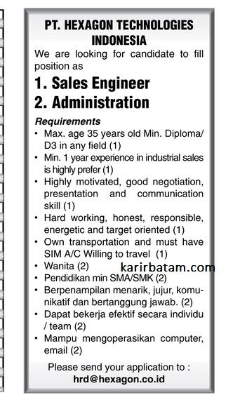 Lowongan Kerja PT. Hexagon Technologies Indonesia