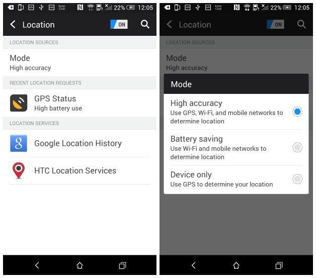 Настройки GPS в Android