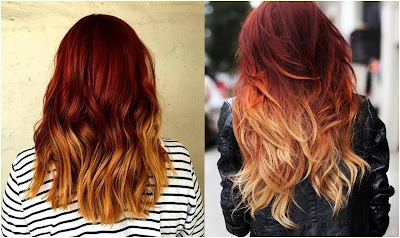 Mahogany to Golden Ombre - Two Tone Hair Color Ideas For Long Hair Best Combinations