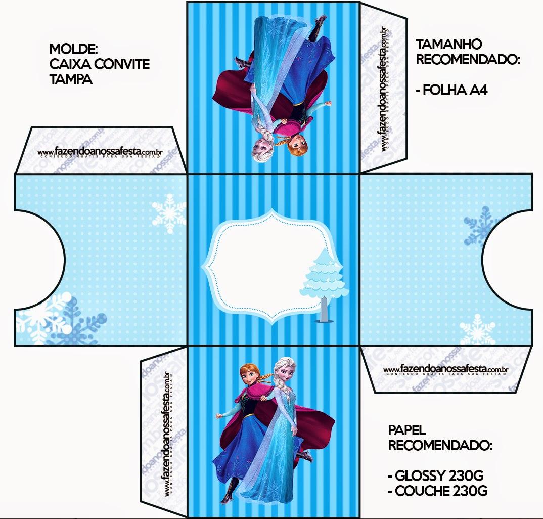 Caja Tarjeta de Frozen en Navidad Azul.