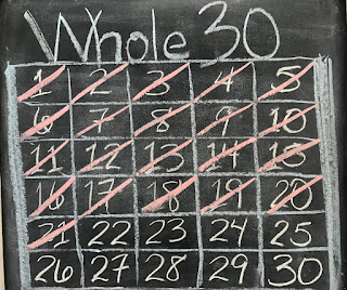 Picture of calendar marking off days remaining in #Whole30 program