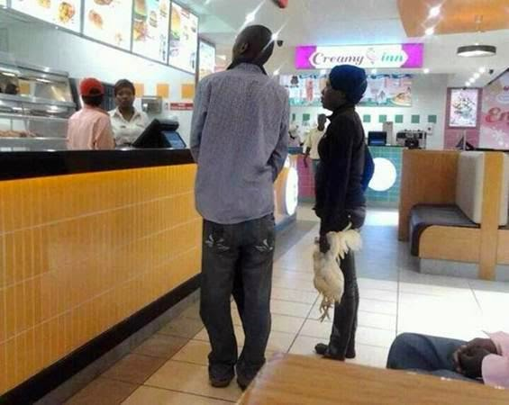 Funny Africa people buying KFC fast food with chicken picture