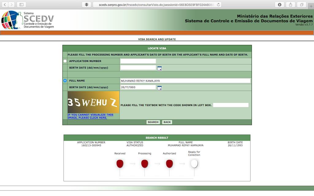 Pengalaman Mengurus Visa Brazil di Jakarta - Status Visa Authorized