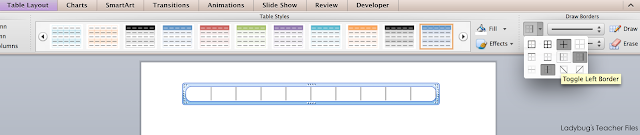 Use tables in PowerPoint to set up a number line.