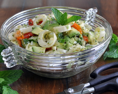 Avocado Salad with Hearts of Palm, another easy summer salad ♥ AVeggieVenture.com. Weeknight Easy. Gluten Free. Paleo. Vegan.